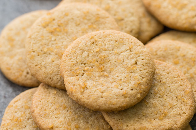 Closeup of a pile of gluten free shortbread cookies