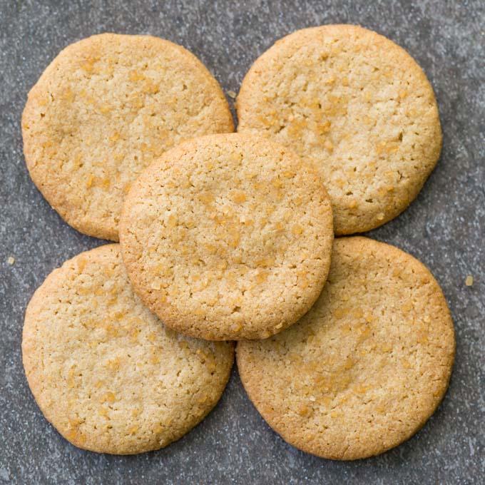 Five gluten free shortbread cookies in a flower formation