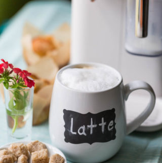 Home coffee station with latte mug