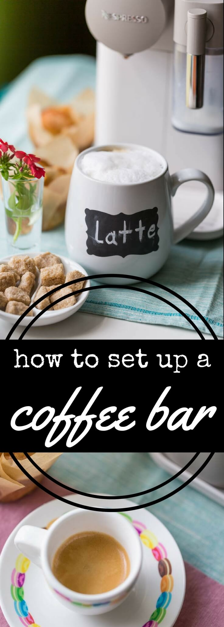 Making a home coffee bar is easier than you think!  Here\'s how to set up a beautiful home coffee station so you can enjoy coffeehouse-style drinks in the comfort of your own home.