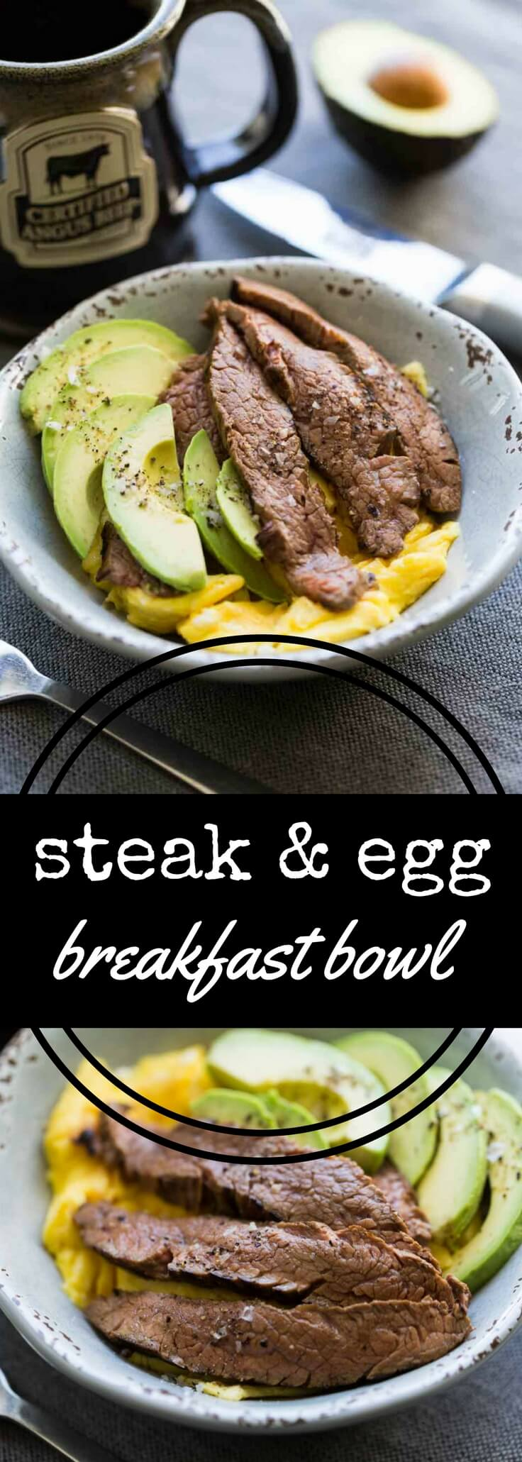This keto diet friendly steak and egg breakfast bowl combines marinated flank steak plus scrambled eggs along with sliced avocado, all garnished with flake salt and cracked black pepper.