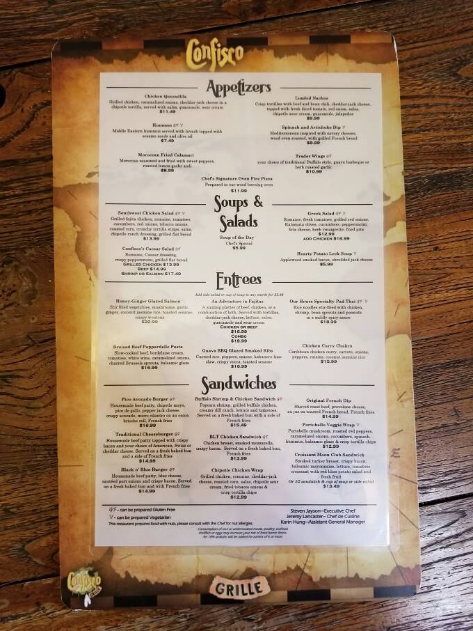 Confisco Grille Menu with Gluten free options