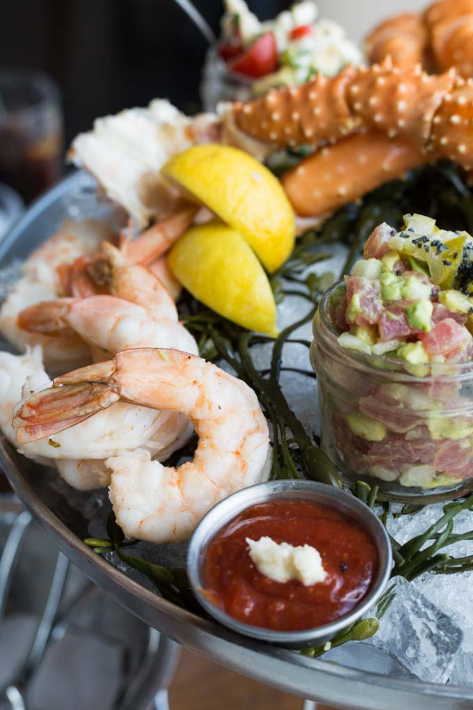 Gluten free shrimp cocktail on a seafood platter