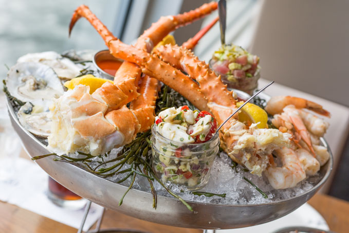 King crab legs on a cold seafood platter
