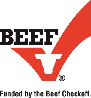 Beef Checkoff Logo with red check and cow head