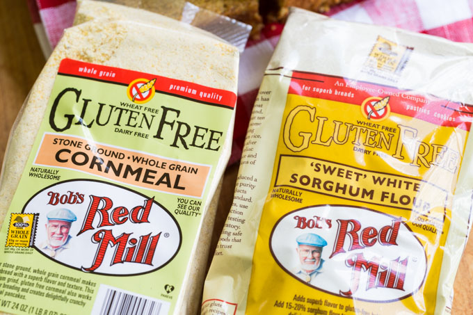Gluten Free Cornbread Ingredients including cornmeal and sorghum flour
