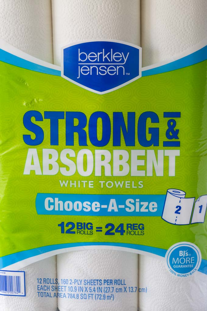 Berkley Jensen brand paper towels label closeup