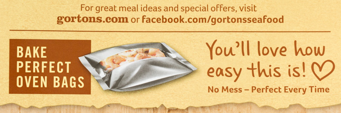 Closeup of text on Gorton's Seafood box