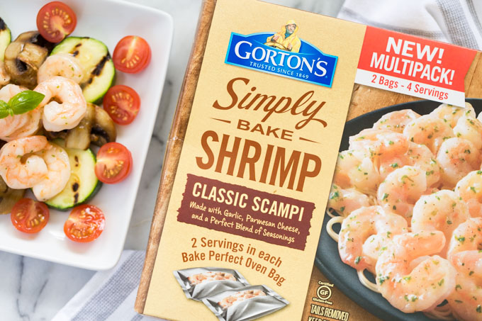 Shrimp and vegetables next to Gorton's Seafood Simply Bake Shrimp Scampi box