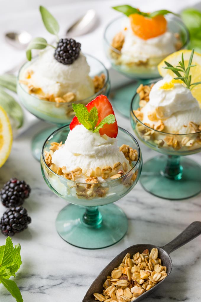 Make a beautiful yogurt bar with real fresh fruit and herb toppings!  This recipe pairs fresh fruits with herbs to create easy, elegant yogurt parfait cups.