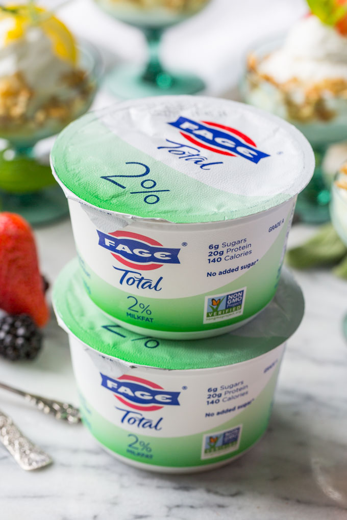 Stack of FAGE Total Greek Yogurt containers