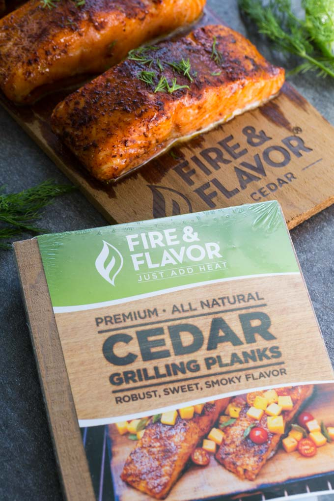 Fire and Flavor Cedar Planks next to cedar plank oven salmon