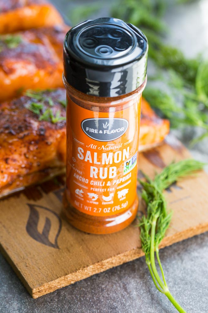 Fire and Flavor Salmon Rub next to salmon and dill