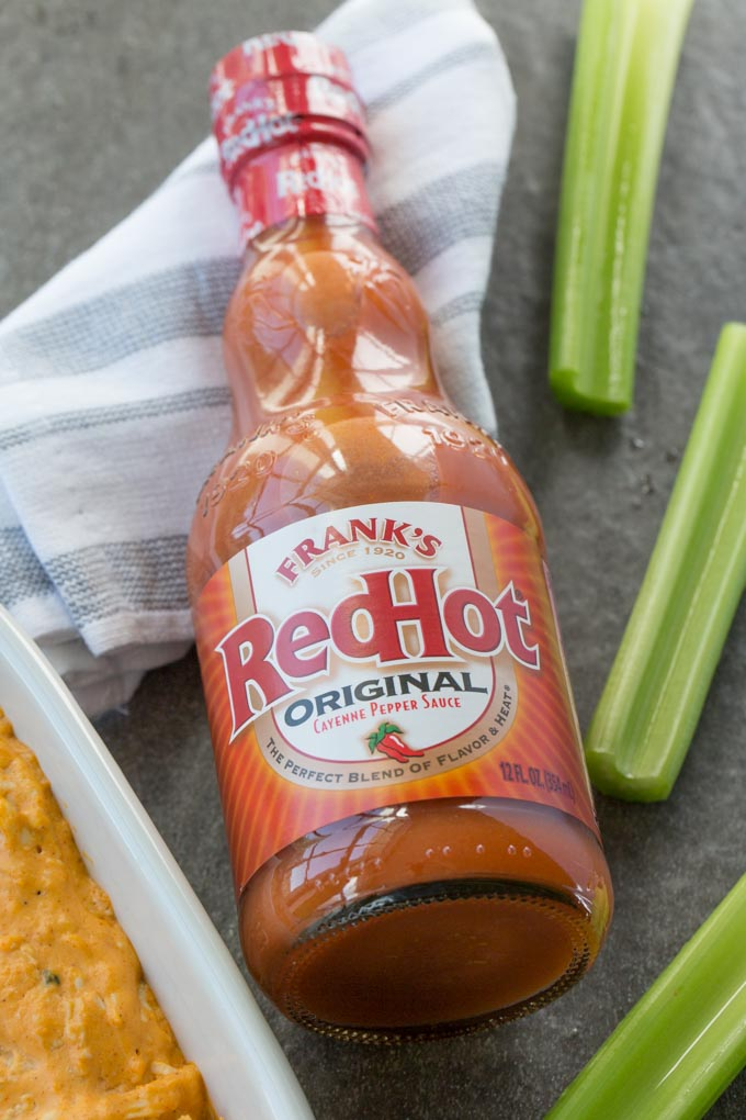 Frank's Red Hot Original Cayenne Pepper sauce with celery and dip