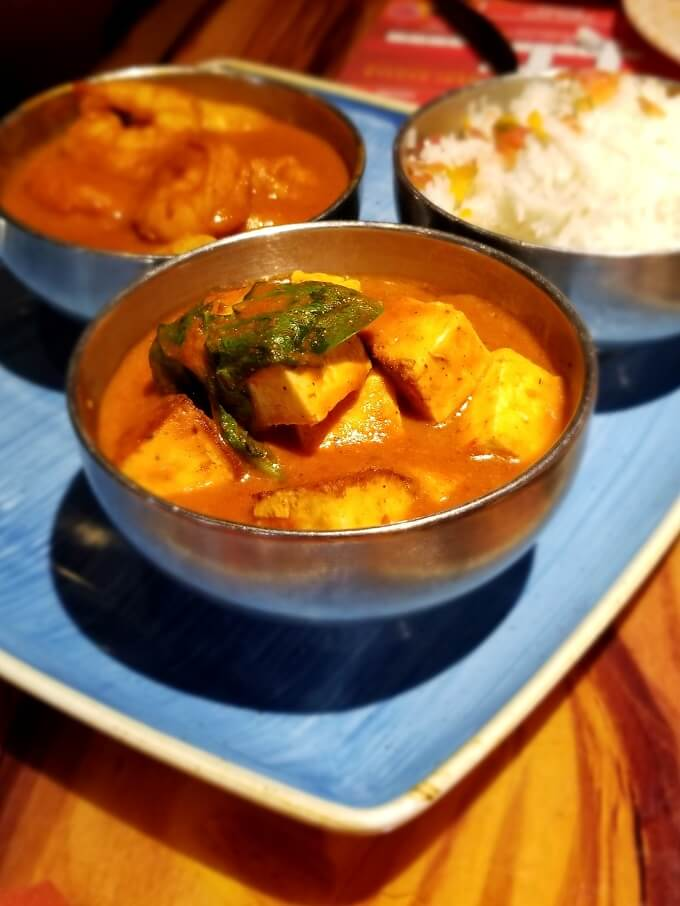 Paneer Tikka in a steel bowl at Sanaa restaurant