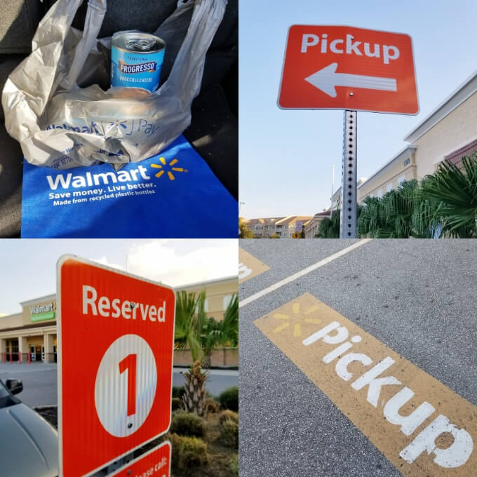 Collage of Walmart Online Grocery Pickup signage