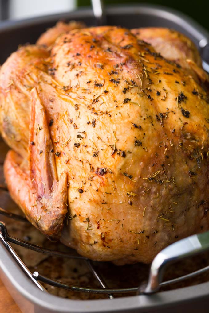 How to brine a turkey - brined and roasted whole turkey in a roasting pan