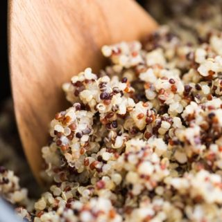 Quinoa cooked in a rice cooker and fluffed