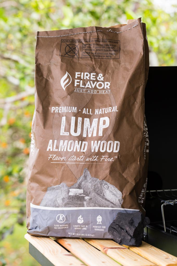 Bag of lump almond wood charcoal