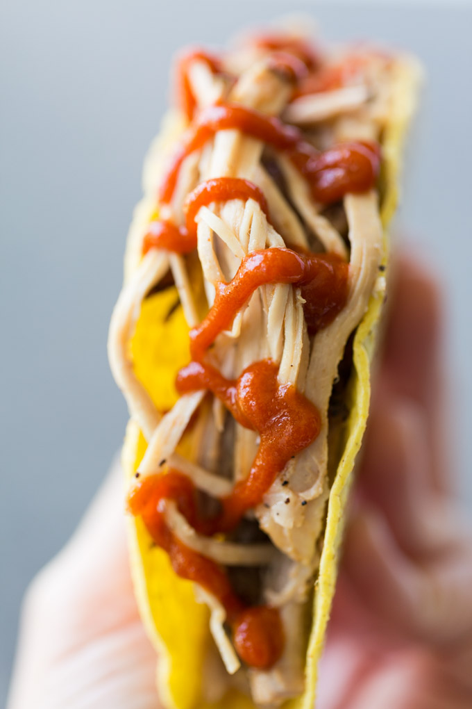 Oven pulled pork taco with hot sauce