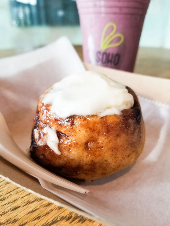 Gluten free cinnamon roll at Soho Juice in Tampa