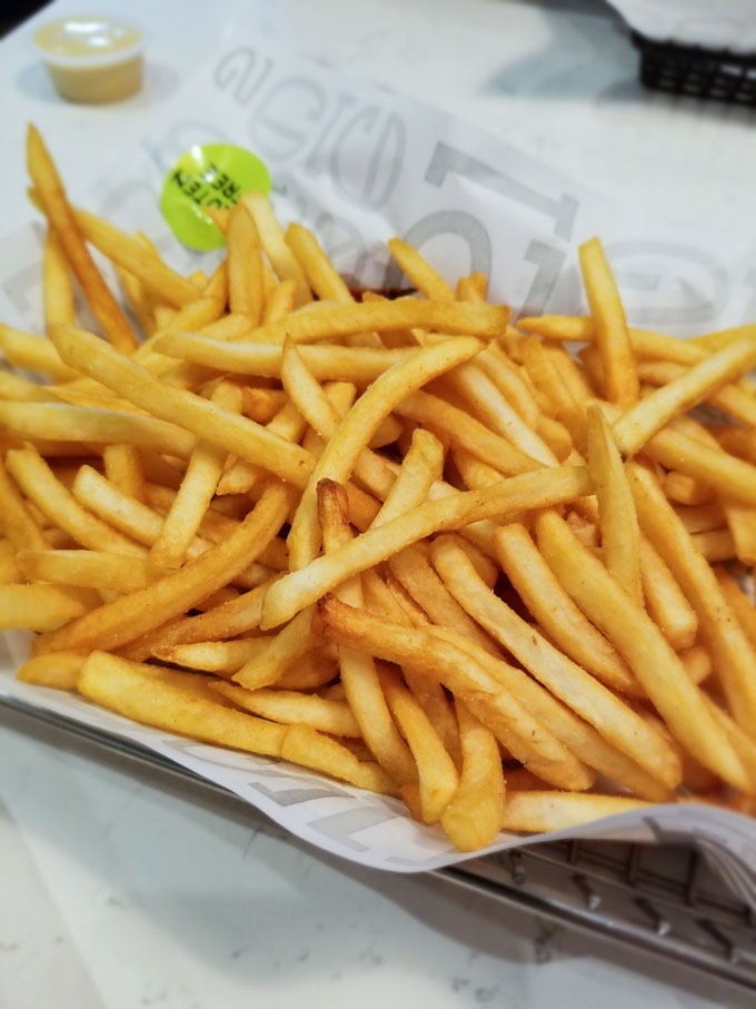 Gluten free french fries from a dedicated fryer at Burger 21