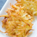 Potato latkes on a white plate