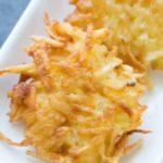 Potato latkes on a white plate