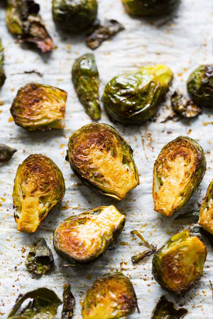 Roasted Brussels Sprouts with Honey on a baking sheet
