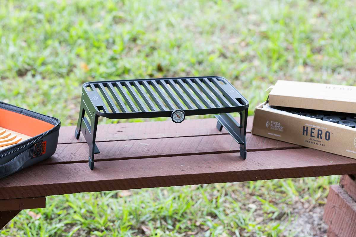 Setting up Hero Grill System outdoors